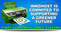 inkghost green printing CIS, Epson, Canon, HP, Brother CISS