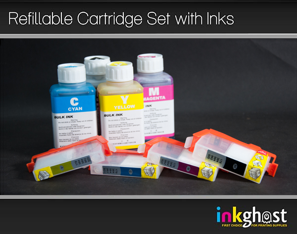 4 x HP 564 Refillable Cartridges with Standard Quality Ink