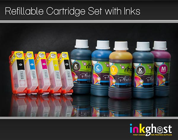 5 x HP 564 Refillable Cartridges with Premium Quality Ink